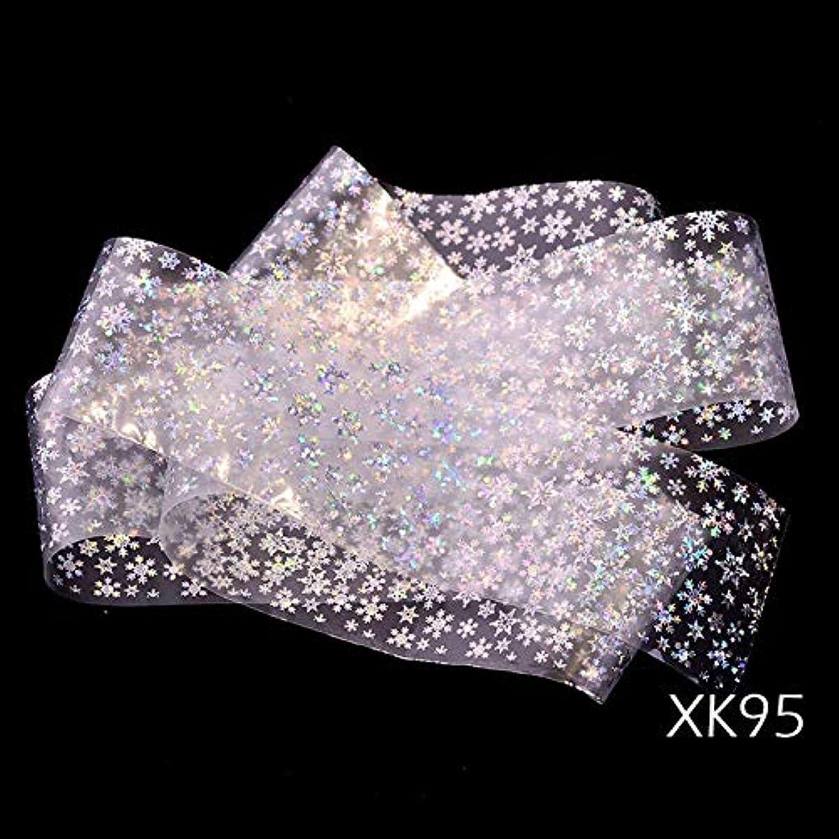 潜在的な装置矢じり1ピースレーザーネイル箔転写ステッカークリスマスホログラフィックシルバーカラー光沢のあるスノーフレークデザイン透明/ブラックチップSAXK94-97 XK95