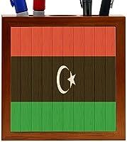 Rikki Knight Libya Flag on Distressed Wood Design 5-Inch Wooden Tile Pen Holder (RK-PH8737) [並行輸入品]