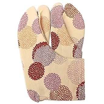 [オオキニ] 足袋 ストレッチ足袋 小紋 柄足袋 こはぜなし フリーサイズ 22.5~25cm 【181J】新万寿菊/白×赤