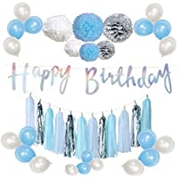 yuzuyu_shop 誕生日 筆記体 バナー オーロラ セット HAPPY BIRTHDAY ペーパー ポンポン タッセル 風船 バルーン ブルー×シルバー