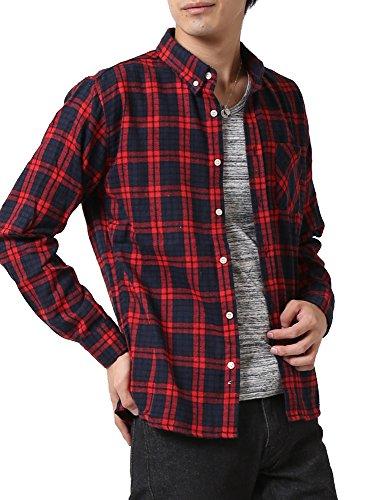 (アーケード) ARCADE ネルシャツ メンズ ボタンダウン チェックシャツ レギュラーカラー 秋 冬 無地 ストライプ LL レッド系チェック
