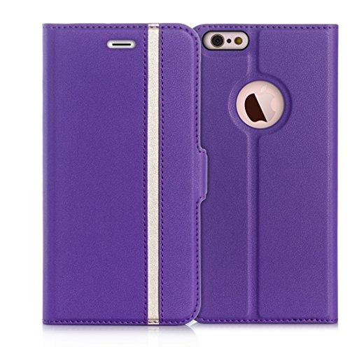 iPhone6s ケース iPhone6ケース,Fyy 100%手作り 高級PUレザー ケース 手帳型 スマホケース スマホカバー 横開き 財布型 カバー カードポケット スタンド機能 マグネット式 スマートフォンケース パープル