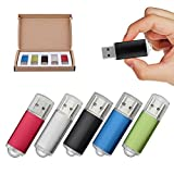 KEXIN USBメモリ 4GB USB2.0 フラッシュメモリ キャップ式 5個セット (五色:青、緑、赤、黒、銀)
