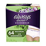 Always Discreet Incontinence & Postpartum Underwear for Women, Disposable, Maximum Protection, Small/Medium, 32 Count- Pack of 2 (64 Count Total) (packaging may vary)