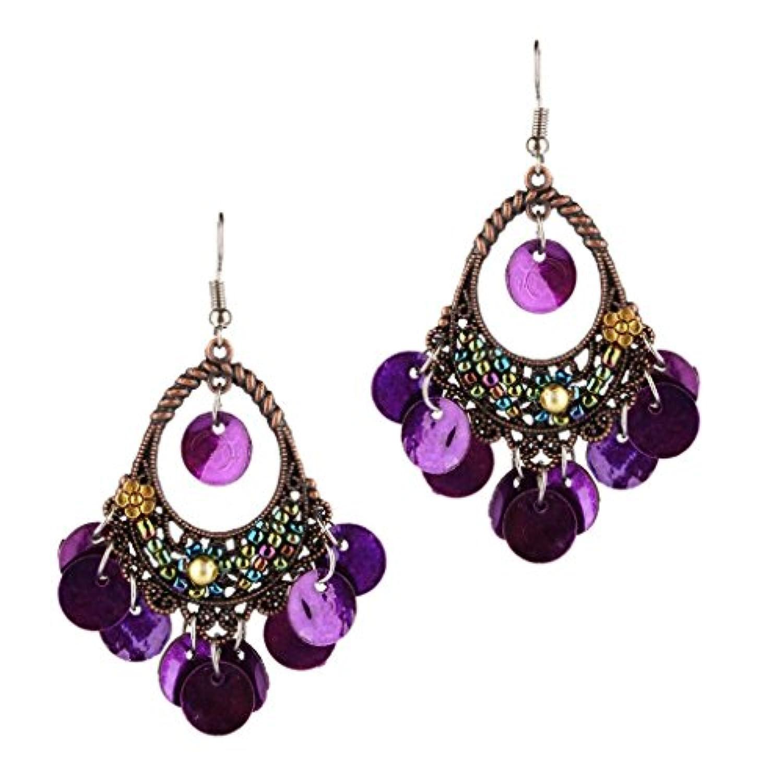 Lovoski ピアス 豪華 タッセル ビーズ ダングル 耳飾り 贈り物 宴会適応 全6色 - 紫