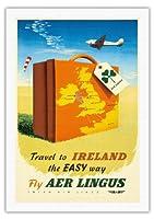 アイルランド簡単な方法でへの旅 - エア・リンガス - ビンテージな航空会社のポスター c.1950s - 美しいポスターアート