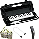 KC 鍵盤ハーモニカ (メロディーピアノ) ブラック P3001-32K/BK + 専用バッグ[Fairy Green] + 予備ホース + 予備吹き口 セット