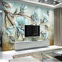 Lcymt 満開のレトロな花と鳥モダンなミニマリストの抽象的な背景の壁の装飾の壁紙の壁画-200X140Cm