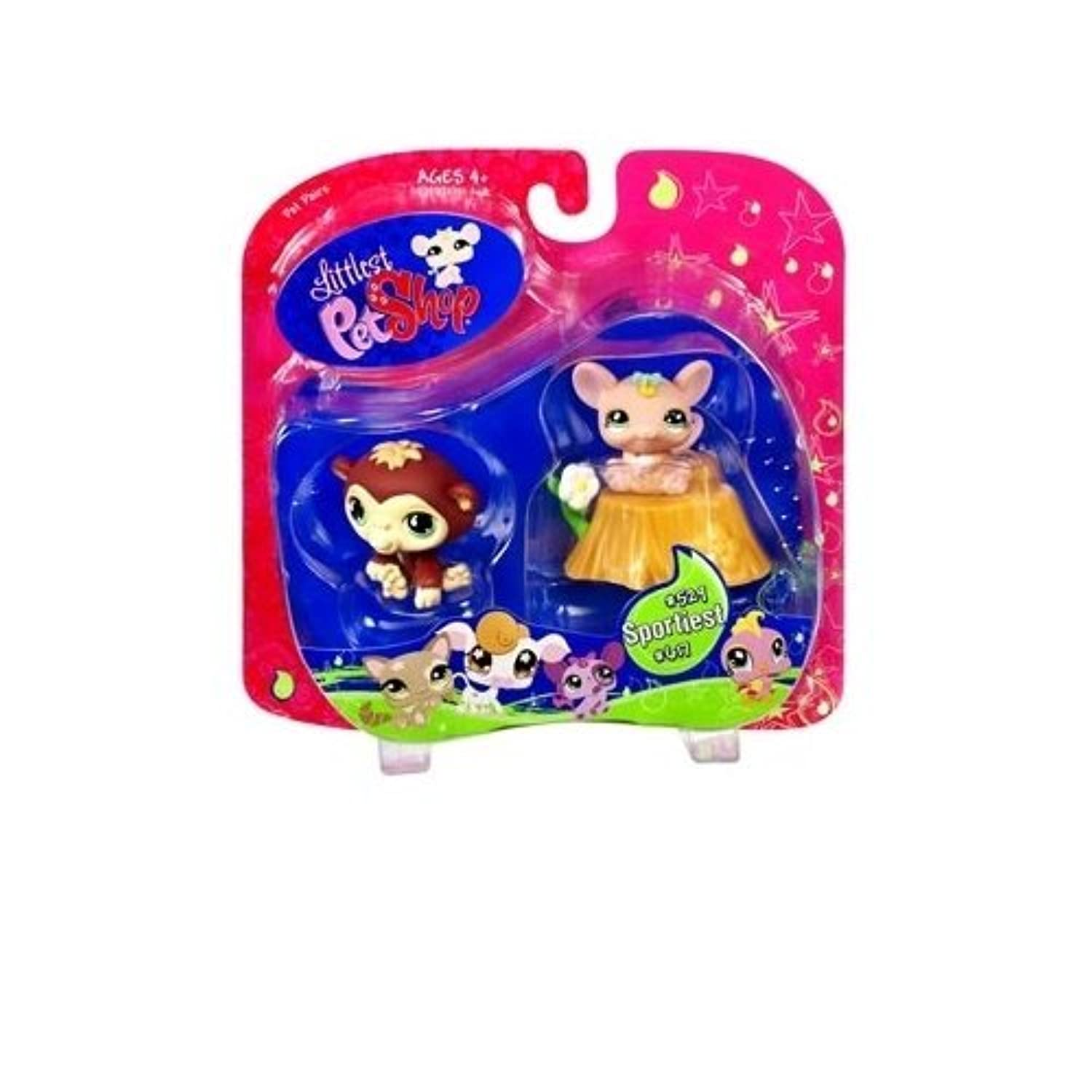 Littlest Pet Shop Exclusive Sportiest Pet Pairs Ape & Mouse with Flower by Hasbro [並行輸入品]