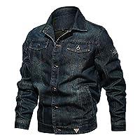男性のブルージーンズジャケット、クライミング旅行のためのマルチポケット防水ウインドブレーカーコートとファッションカジュアルカウボーイジャケット,B,3XL