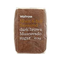 ダークブラウンマスコバド糖1キロ (Waitrose) (x 6) - Dark Brown Muscovado Sugar Waitrose 1kg (Pack of 6)