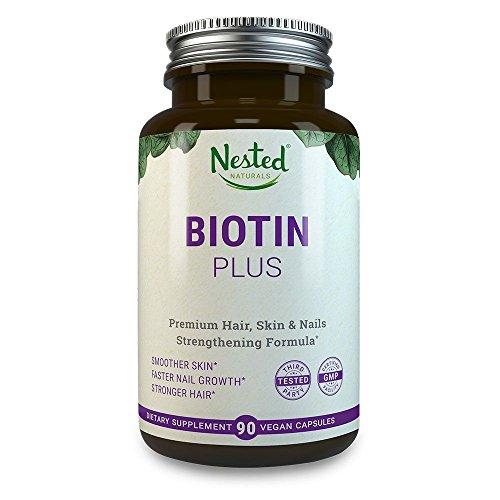 最高のビオチン処方 | ビオチン・プラス Nested Naturals製 | 髪・皮膚・爪の先進複合体 ビオチン 5,000mcg + ビタミンC、E、B3、B6、B12配合 | 非GMO(遺伝子組み換え無し)、ヴィーガン - 生涯保証