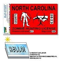 ノースカロライナNC ゾンビ狩猟ライセンス許可赤 - バイオハザード Response チーム SLAP-STICKZ(TM)プレミアムステッカー