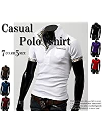 (NAIL39) ゴルフウエア メンズ ポロシャツ 半袖 クール シャツ ハーフ スポーツ ゴルフ 重ね着風 襟付き 無地 柄 半袖 速乾