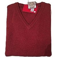 jacksmith Men's Shetland Wool V-Neck Cardigan Sweater Ragg Knitted Jumper Pullover (Large, Rust)