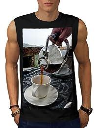 Wellcoda コーヒー ショップ 自然 フード 男性用 S-5XL 袖なしTシャツ