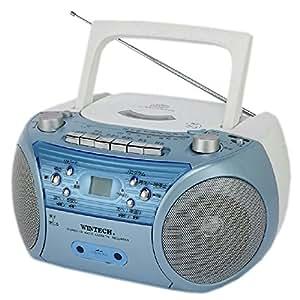 WINTECH CDラジカセ ブルー マイク入力端子 外部音声入力端子 CDR-L72A