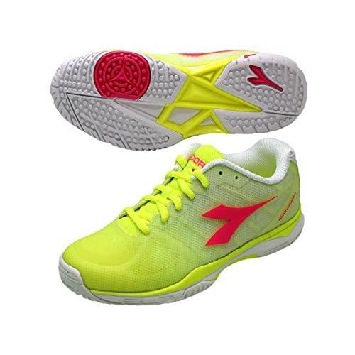 ディアドラ(DIADORA) テニスシューズ スピードコンペティション III W SG 171507-5707 5707:イエローFL×ピンクFL 24.0