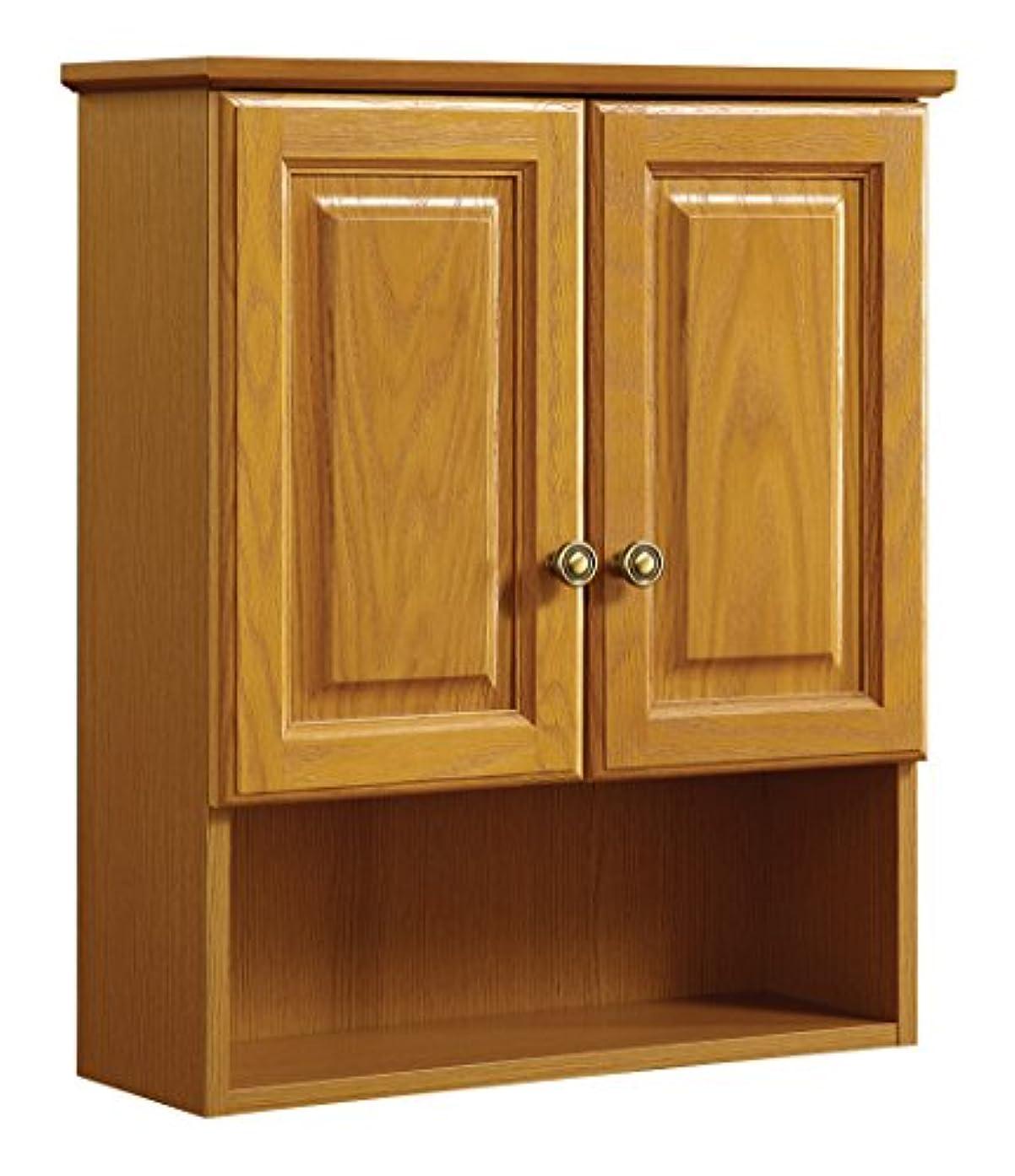 申請者ペレグリネーション排除デザインハウス531962 21-inch by 26-inch Claremont ready-to-assemble 2ドア浴室壁キャビネット、Honey Oak