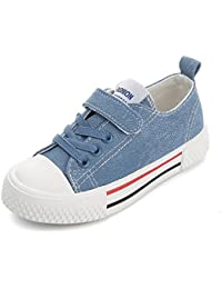 [XINXIKEJI]子供靴 スニーカー 女の子 男の子 デッキシューズ 内寸17-23cm マジック式/レースアップ 履きやすい 防滑 通気 軽量 心地良い おしゃれ 学校 アウトドア 運動靴 キッズシューズ 青/黒