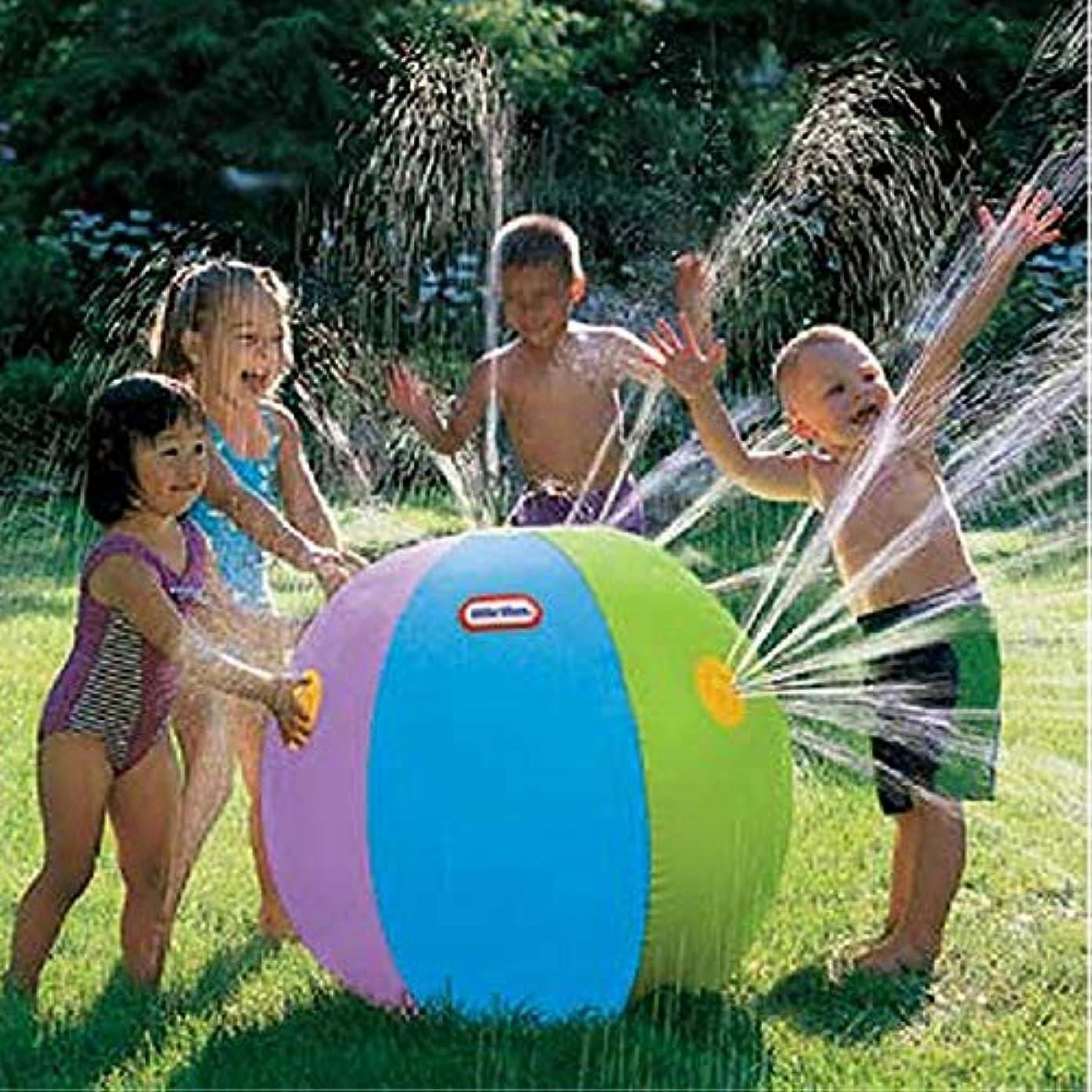 神聖失う伝導Fenghong 水スプレーインフレータブルボール\インフレータブルビーチボール噴水ビーチボール面白いウォーターボール夏のビーチボールのおもちゃ