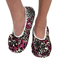 Snoozies Womens Touch Me Ballerina Slippers with Comfort Fit Split Sole Pink and Black Cheetah Medium 7/8
