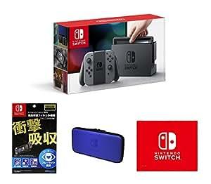 【Amazon.co.jp限定】【液晶保護フィルム多機能付き(任天堂ライセンス商品)】Nintendo Switch Joy-Con(L)/(R) グレー+専用スマートポーチ(EVA)ブルー+マイクロファイバークロス