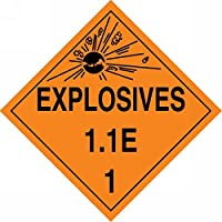 """Accuform Signs MPL15CT100 PF-Cardstock Hazard Class 1/Division 1E DOT Placard, Legend """"EXPLOSIVES 1.1E 1"""" with Graphic, 10-3/4"""" Width x 10-3/4"""" Length, Black on Orange (Pack of 100) [並行輸入品]"""