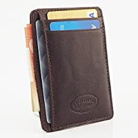 RFID Genuine Leather Slim Men's Credit Card Wallet 4 Cards Notes Brown