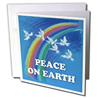 Houk Kidsplanet – Illustrations for Kids – Peace on Earth – Pigeons And Rainbow Onブルー背景 – グリーティングカード Set of 12 Greeting Cards