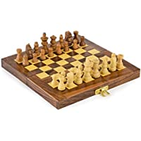 Kimaro Wooden Travel Chess Set - 6 in x 6 in - Folding Chess Board With Wood Pieces in Case - Handmade by kimaro [並行輸入品]