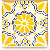 【B'stile】絵画のような壁タイル「メキシコタイル」M104-4(陶器質|100mm角|屋外壁/屋内壁用)1枚