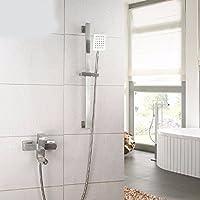 304ステンレスの正方形の簡単な花の蛇口のシャワーのスーツは冷熱を持って手をかけて浴槽の蛇口をかけます,b