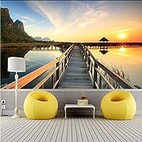 Hwhz 3D壁紙現代の日没海辺の埠頭風景写真壁の壁画リビングルームテレビソファの背景壁の絵3D家の装飾-120X100Cm