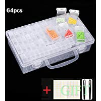 SanerDirect 84 Grids Diamond Painting Storage Container, Beads Organizer Storage Container Case (Storage Box with Tools), 64pcs