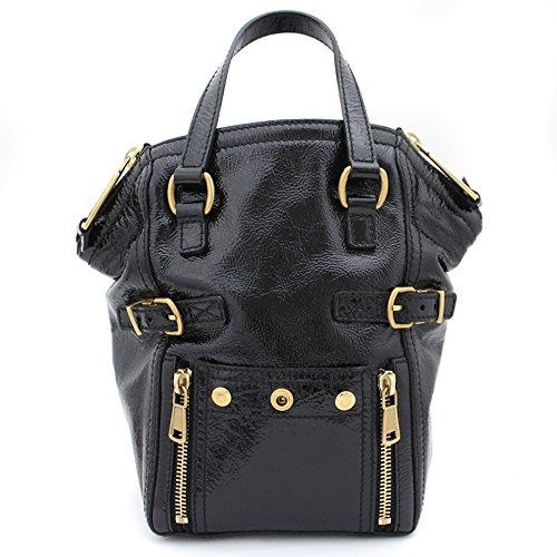 YvesSaintLaurent(イヴサンローラン) 美品 ミニダウンタウン ハンドバッグ ブラック パテントレザー エナメル 172454 黒 YSL (中古) レディース 鞄 バッグ ゴールド金具