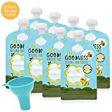 Reusable Food Pouches (8 Pack) - For Baby, Toddlers and School Kids - Fill with Yoghurt, Baby Puree, Smoothies - Easy-clean Design - Ideal For Baby Food Storage - Double Ziplock, No Leaks - Free from BPA and Nasties.