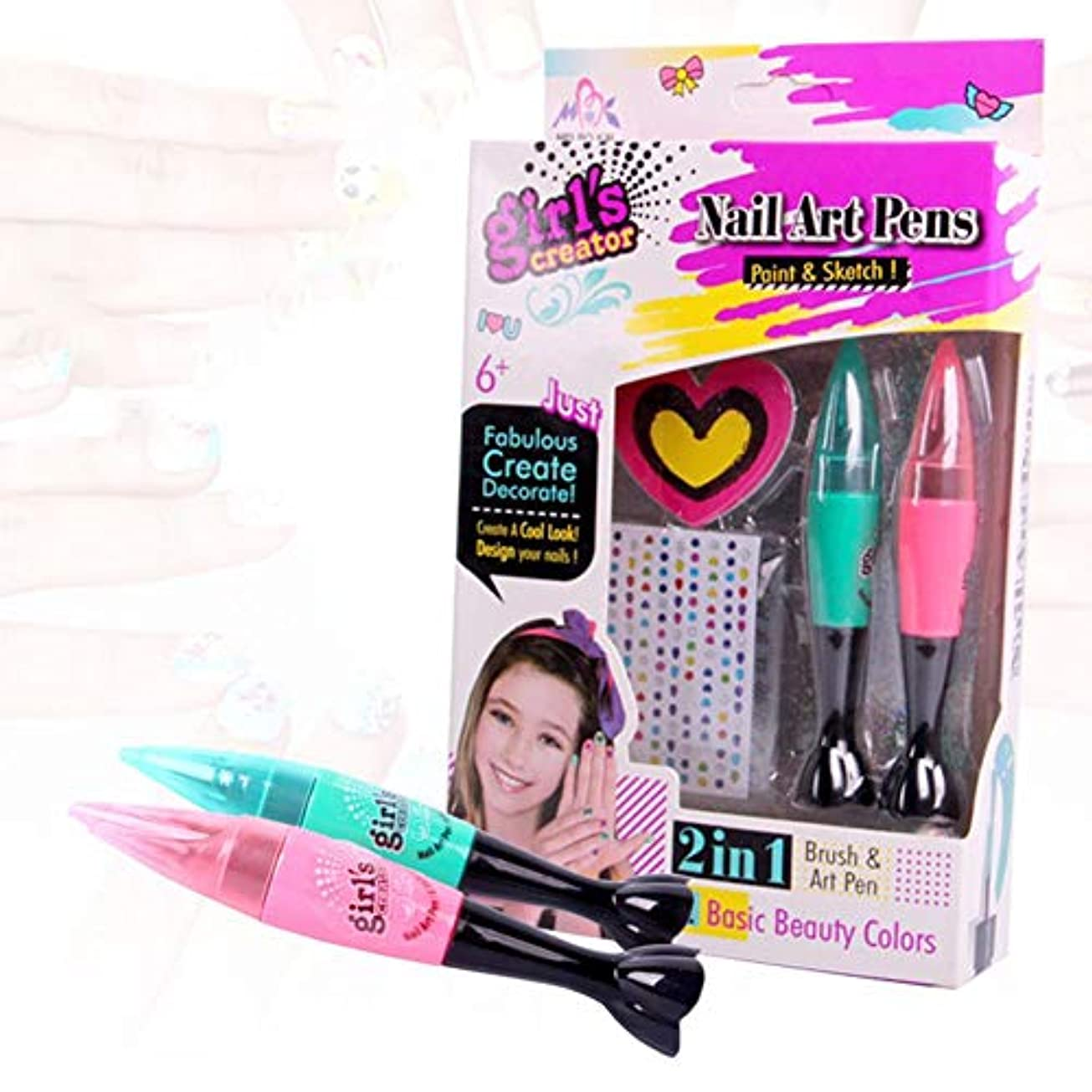 バナーほとんどの場合周囲子供のネイルアートペンセット 非毒性化粧玩具マニキュアセット3DネイルアートDIY装飾