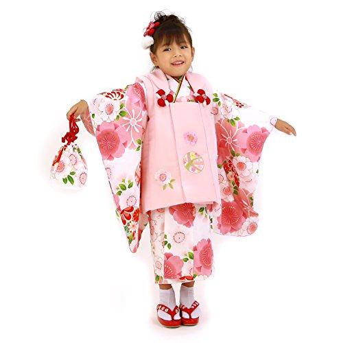 【まり2/白地に桜と鞠/ピンク】 七五三 着物 3歳 女の子...