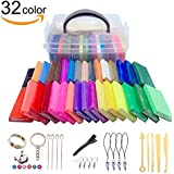 Polymer Clay, 32 Colors DIY Soft Craft Oven Bake Modeling Clay Kit with Modeling Tools and Accessories, Non-Toxic, Non-Sticky