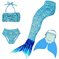 BESTYLING Sparkle Girl's Mermaid Tail for Swimming, Colorful Swimmable Princess Swimwear Bikini Set