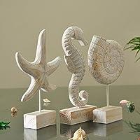 樹脂ソフトデコレーションギフトホームEastern地中海スタイル3 Piece Seahorse巻貝ヒトデOrnaments樹脂工芸
