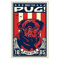 "CafePress–Obey the Pug 。(ブラック)–23"" x35""高品質ポスターon Heavy半光沢紙"