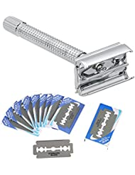 Decdeal シェービング剃刀セット 伝統的なメンズダブルエッジ ステンレス鋼 20枚のブレード付き ステンレススチール ダブルエッジ 安全なカミソリ