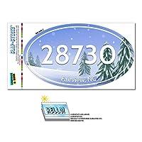 28730 フェアビュー, NC - 雪に覆われた木 - 楕円形郵便番号ステッカー