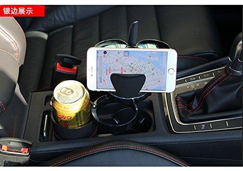 NOVUSS マルチマジックカップスタンド 車載カップスタンド 車載飲み物ホルダー自動車用ケータイホルダー(銀の縁)