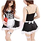 Chinatera Womens Sexy Lingerie Apron Maid Servant Lolita Costume Dress Uniform Full Size Black + White