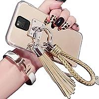 Huawei Mate20 Mirror ケース, Beautiful Hand Sling Anti-Slip Strap Tassel Luxury Shiny Make-Up Mirror Thin カバー, TAITOU Awesome Ultralight Slim Phone ケース For Huawei Mate 20 Gold