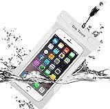 防水ケース 防水等級IPX8 ネックストラップ & アームバンド付 海 お風呂 温泉 iPhone/Samsung/Huawei など 6インチ以下全機種対応(ホワイト)