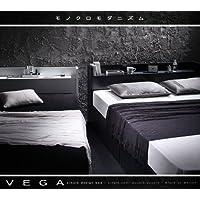 棚・コンセント付き収納ベッド VEGA ヴェガ ボンネルコイルマットレス:レギュラー付き セミダブル ブラック